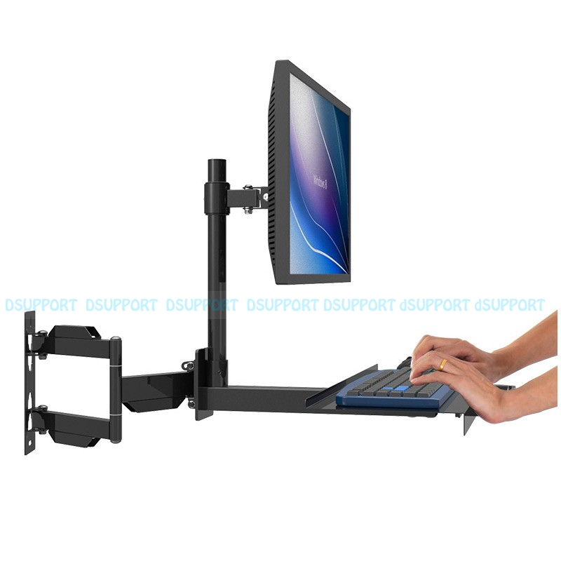 W805 Full Motion Wall Mount PS Stand Sit-Stand Desk Workstation Monitor Holder Keyboard Bracket