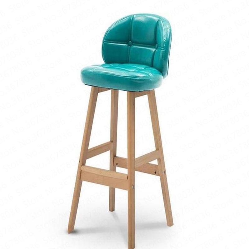 Life American Style Solid Wood Bar Stool Modern Minimalist European Retro Backrest High Chair Home Metalic Formal Dinning Chairs