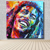 new hand painted Bob Marley Portrait Oil Painting Acrylic on Canvas Art wall decor for Living Room bar Home Decoration BEST gift