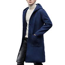 Kewlstyle 3 colors Men s winter coat hooded long sleeve mens overcoat peacoat wool Asian size