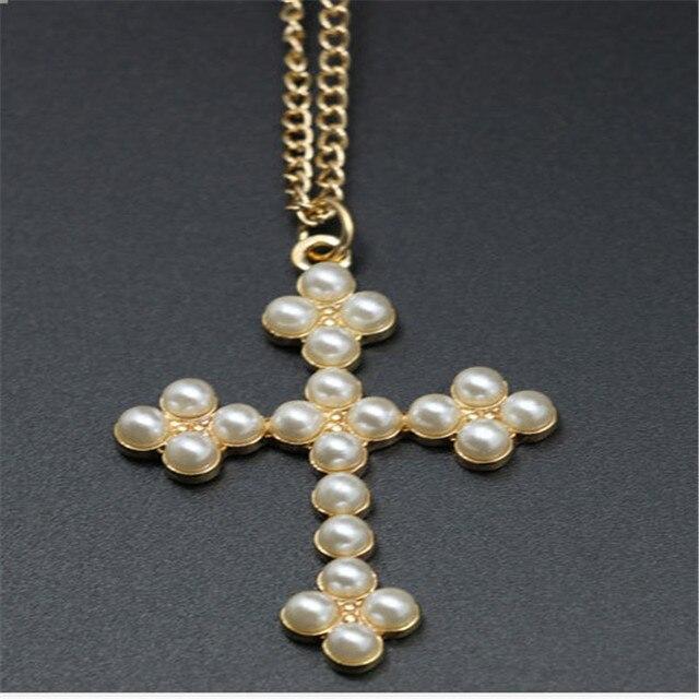 c8eb52368a49 2016 Diseño de La Perla Cruz Collar Colgante Dorado joyería para las  mujeres cruz cuello de