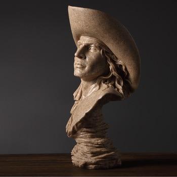 Abstract Cowboy Bust Handmade Sandstone Hunter Sculpture Portrait 2