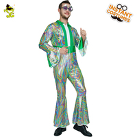 Adult Men's 60 70's Disco Party Costumes For Carnival Party Coverall Costumes Fancy Dress For Cheer Party Disco Uniform