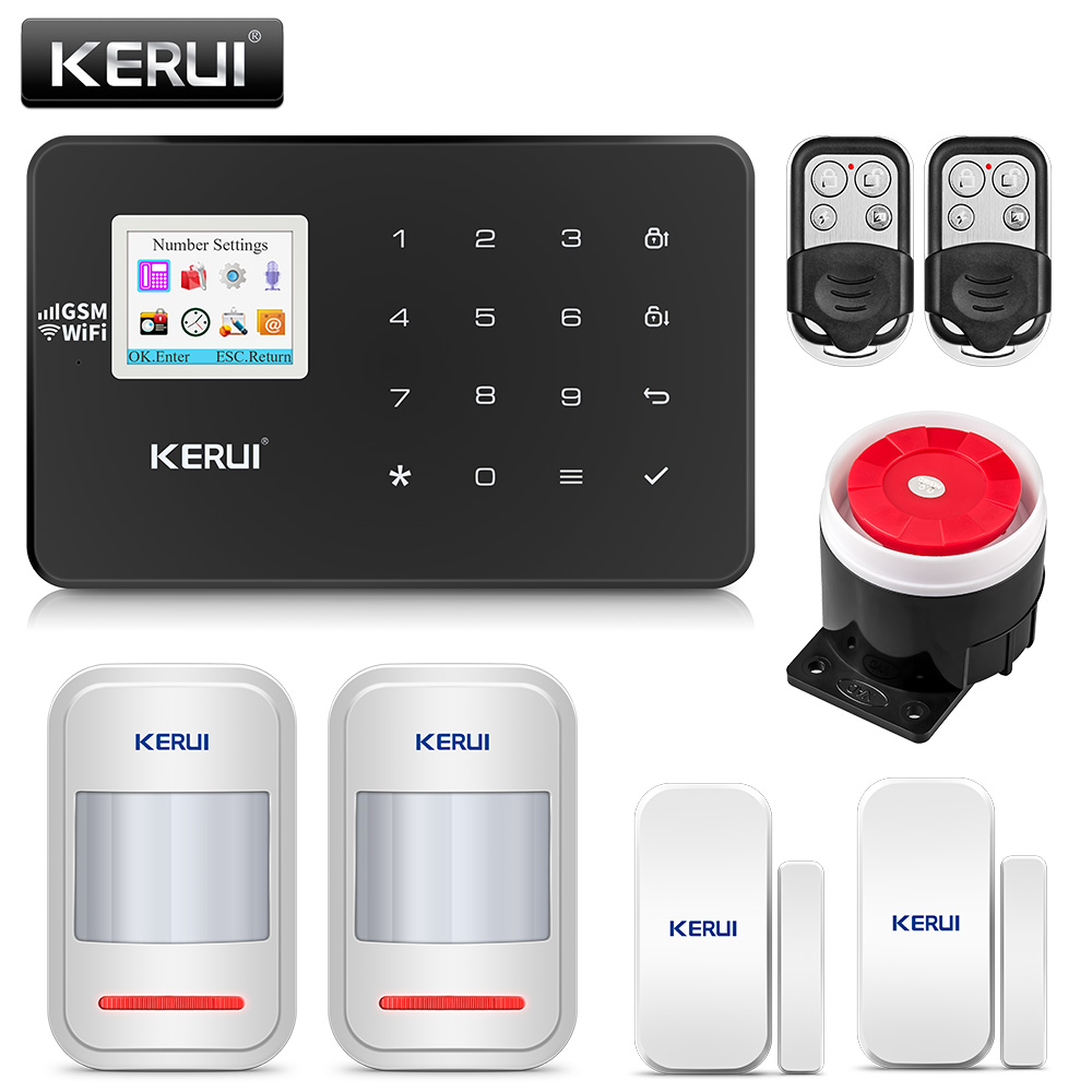KERUI W18 Wireless Home Alarm Wifi GSM IOS Android APP Mental Remote Control LCD GSM SMS
