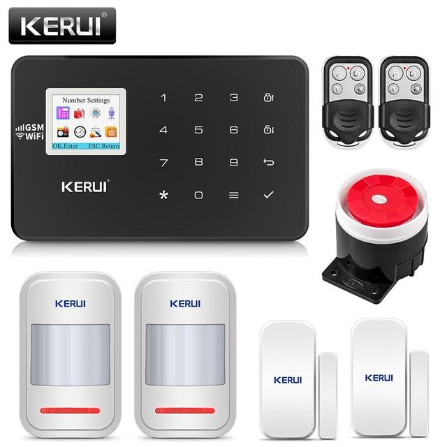 Kerui w18 sem fio wi fi gsm ios/android app controle remoto mental lcd gsm sms assaltante segurança do sistema de alarme segurança