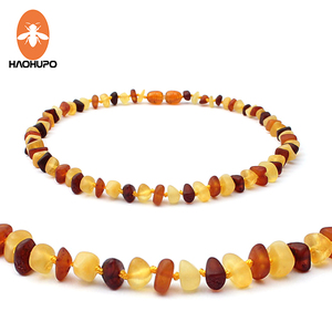 HAOHUPO Raw Amber Necklace for Children Multicolor Baby Jewelry Certificate Baltic Natural Amber Beads Collar True Best Gifts