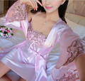 2016 Newest high quality silk robes silk sleeping wear silk night gown night shirt sexy sleeping wear 2pcs sleeping wear