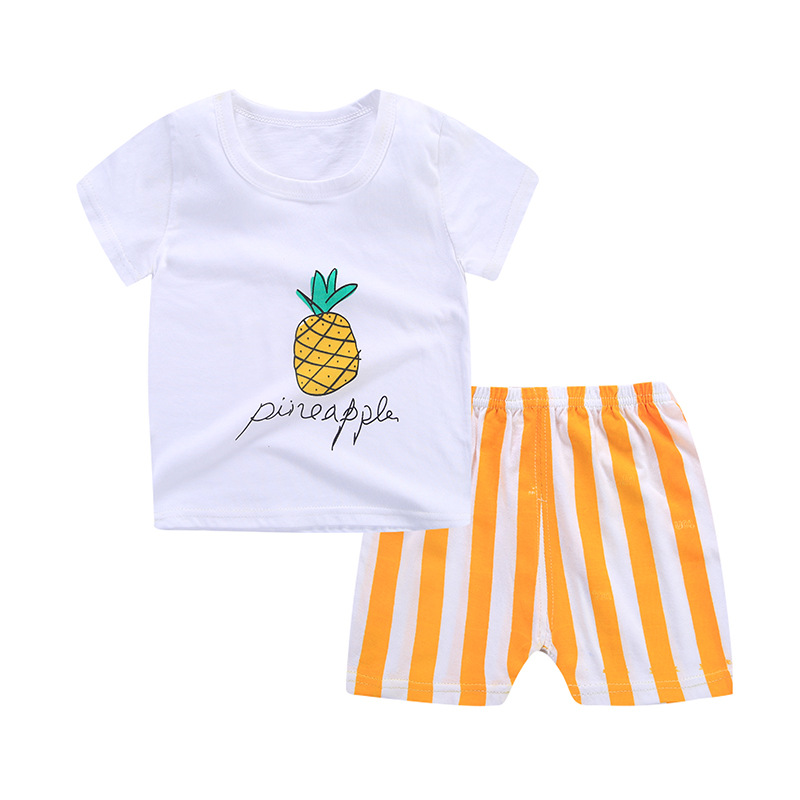 2018 Summer Cotton Boys clothes Cute Cartoon Elephant Short Sleeves Kids Clothing Set O-neck Comfort Baby Children Clothing