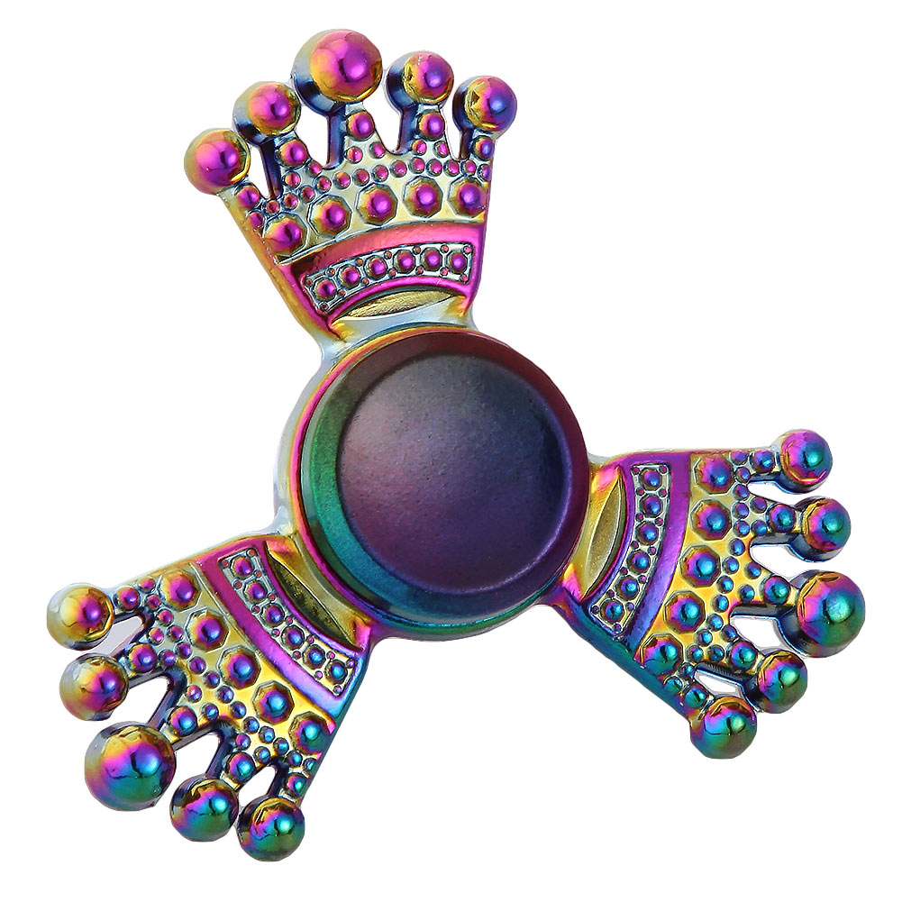 Crown Shape EDC Fidget Spinner Metal Rainbow Anti Anxiety Toy For Kids Adults Focus Relieves Stress