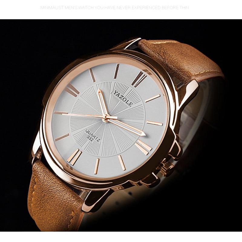 Yazole Watches Mens 2019 Busines Leather Band Waterproof Quartz Clock Men Erkek Kol Saati Relogio Masculino Luxury Watch Men
