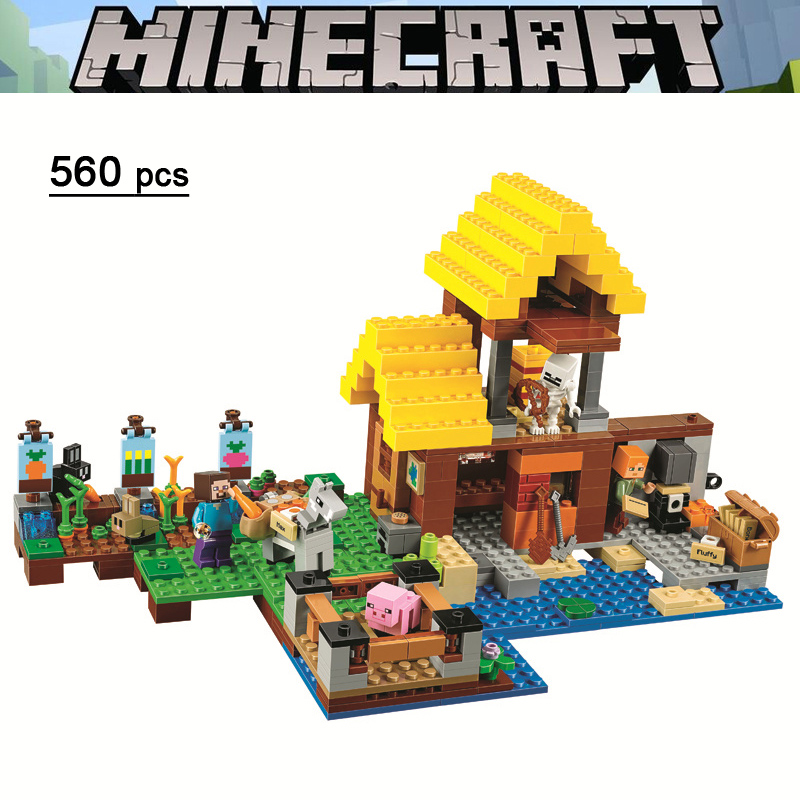 Bela Compatible Legoe Giftssle Minecraft 2018 NEW 560Pcs 21144 The Farm Cottage House Building Blocks Bricks Gifts for Children цена