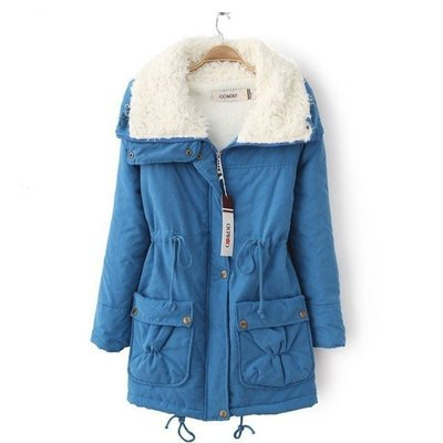 2016 Warm Fashion Jacket Coat Winter Coat Women Outwear Long Section of Lambs Wool Lapel Parka Cotton