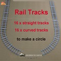 NEW Toys for Children Ausini Building Blocks Rail Tracks for Train Straight & Curved Tracks to Make One Circle Legoe Compatible