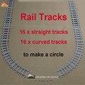 Novos brinquedos para as crianças Ausini Building Blocks caminhos de ferro para o trem Straight & curvo faixas para fazer um círculo Legoe compatível