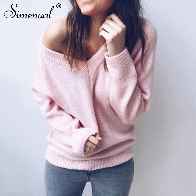 Simenual с v образным вырезом женские свитера и пуловеры вязаная осенне зимняя одежда однотонный базовый тонкий пуловер женский джемпер свитер леди