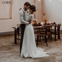 LORIE Two Pieces Wedding Dress 2019 Lace top and Chiffon Skirt Bride dress Long Sleeve A Line Sumer Beach Wedding Dresses