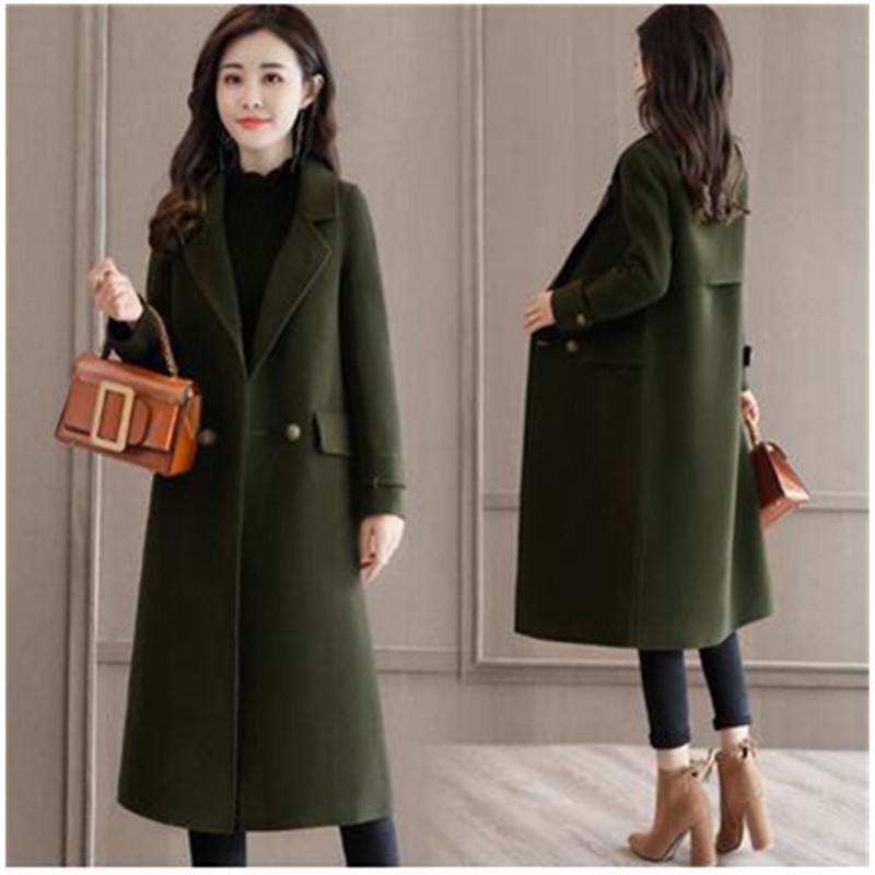 2019 Coreano army Green Caldo Brown Donne Cappotto Maniche A Cappotti Lunghe Inverno Abbigliamento Stile Tasca Di Autunno Moda 2194 Giacca Nuovo Cachemire Lana rSZBr4