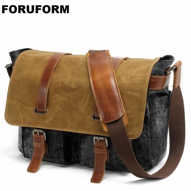 Men's Fashion Casual Business Travel Shoulder Bags Men Messenger Bags Waterproof Canvas 14inch Laptop Briefcase Men Bag LI-1491