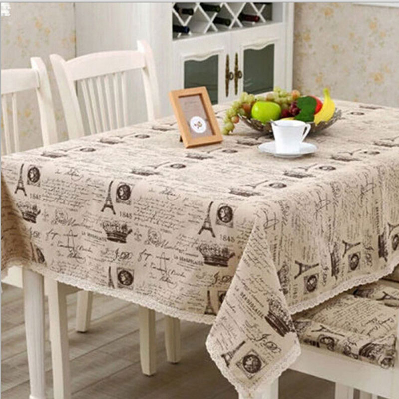 europe linen cotton table cloth small crown letter printed lace edge tablecloth wedding party supply toalha de mesa retangular