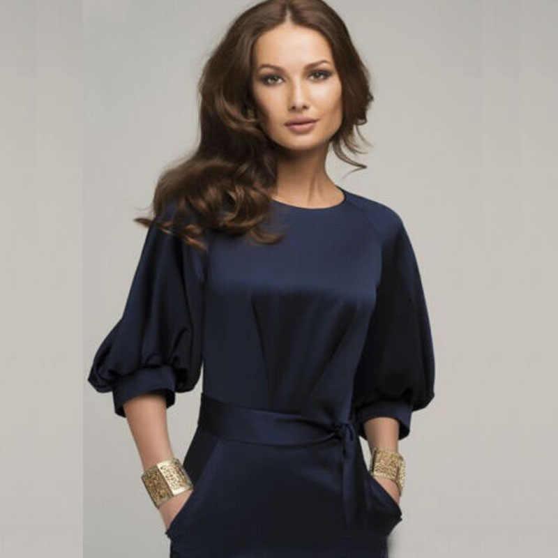 8c565a04b5b1 Half Sleeve Sheath Dress Petal Sleeve Dress Bow Belt One-piece Women  Elegant Solid Work