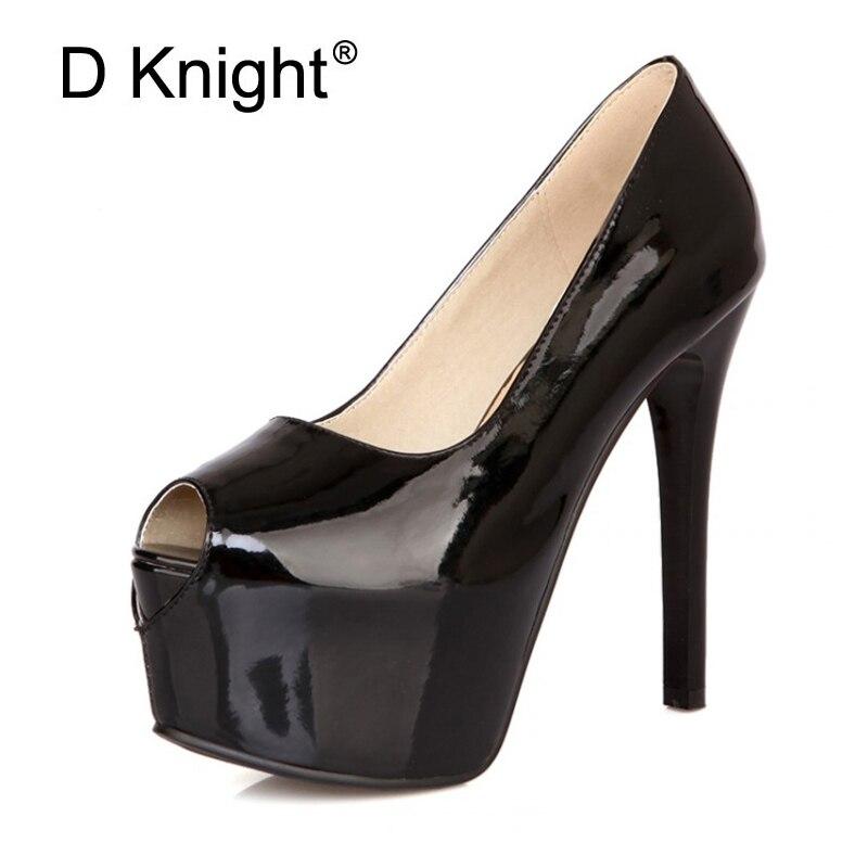Sexy Open Toe Platform High Heels Women's Shoes New Ladies Elegant Patent Thin High Heels Pump Shoes Women Stilettos Size 34 42