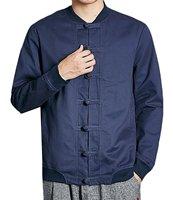 WANSHIYISHE Men Linen Tai Chi Long Sleeve Jacket Shirt