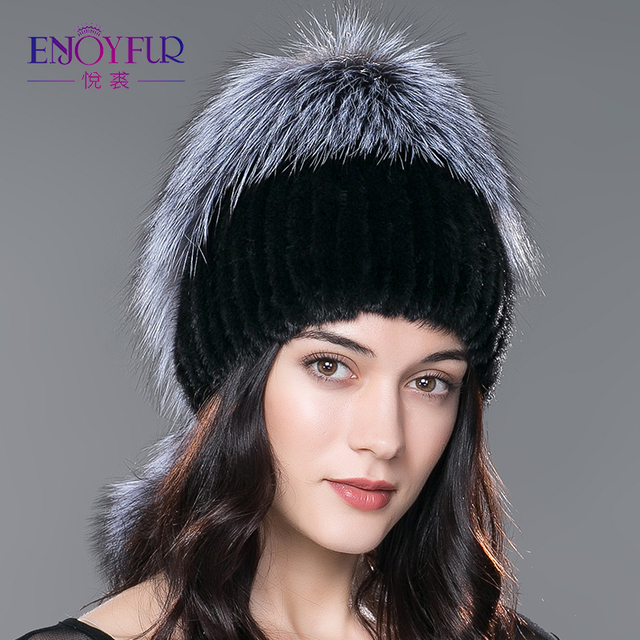 ENJOYFUR  new mink fur hat knitted real mink fur cap with silver fox fur pom poms fashion women hat 2016 good quality fur hats