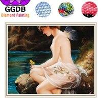 GGDB 5D DIY Diamond Painting Women Modern Nude Painting Sexy Elf Resin Full Diamond Mosaic Watercolor