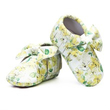 Lovely bow hard sole toddler moccasins 0-4 years