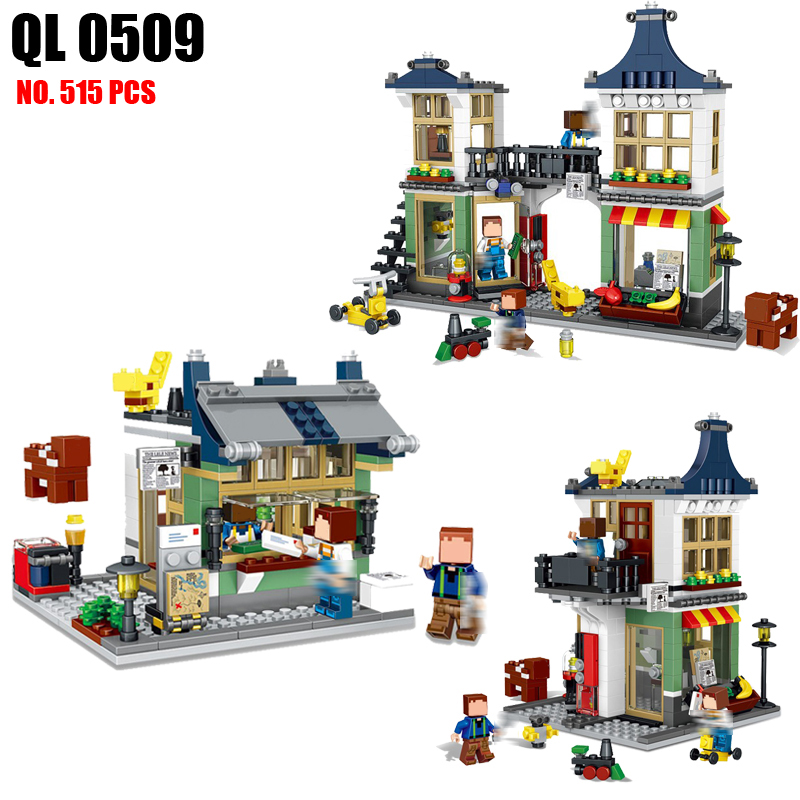 AIBOULLY QL0509 Toys Minecrafted City Building Blocks DIY Magic Creative Shop Action Figure Educational Toys For Children Kids brand new yuxin zhisheng huanglong high bright stickerless 9x9x9 speed magic cube puzzle game cubes educational toys for kids