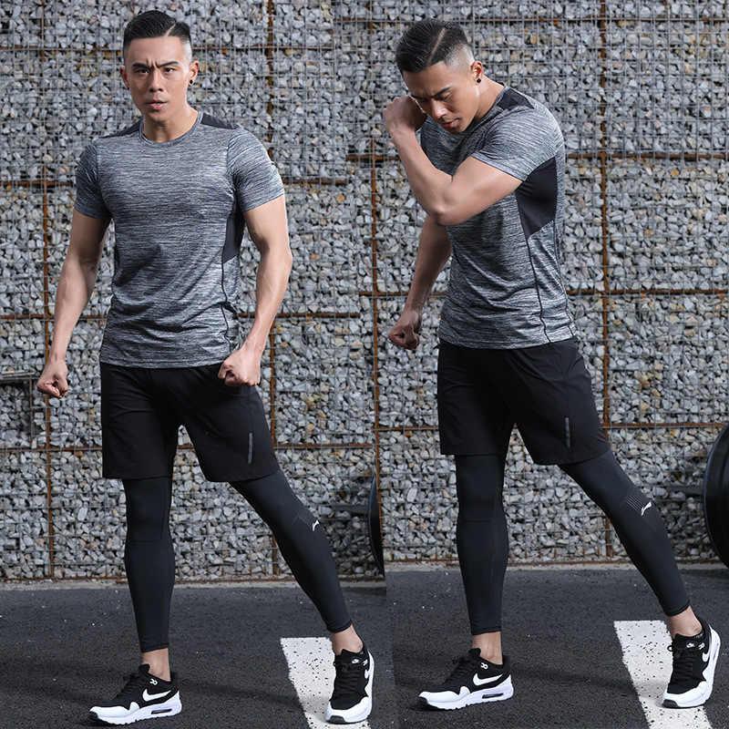 Камуфляжная летняя футболка из полиэстера, летняя дышащая мужская футболка, тренировка в тренажерном зале, Спортивная футболка с короткими рукавами для мужчин, большие размеры