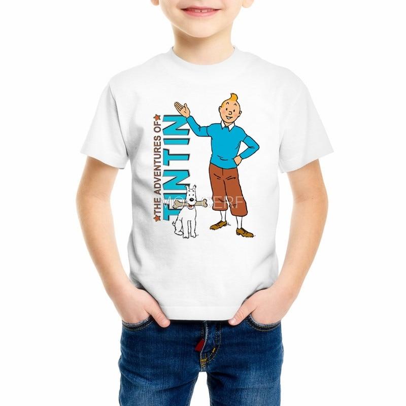 Summer Top Kids T Shirts 3D Cartoon Tintin Adventure Classic Animation Boys/Girls/Baby T-shirts Tees Custom Casual Tshirts M24-1