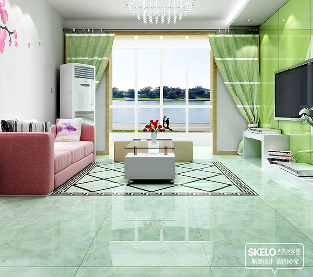 800*800mm Foshan floor tiles green ceramic tiles glossy living room ...