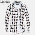 Мужские 100% Мерсеризованный Хлопок Рубашки С Длинным Рукавом Camisa Социальной Masculina Геометрическая Свободные Бренд М-5XL 6XL 7XL Большой Размер J102
