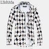 Mens 100 Mercerized Cotton Dress Shirts Brand Long Sleeve Geometric Camisa Social Masculina Big Size M