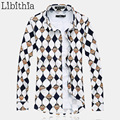 Mens 100% Camisas de Vestido de Algodão Mercerizado de Manga Comprida Geométrica Camisa Social Masculina Marca Solta M-5XL 6XL 7XL Tamanho Grande J102