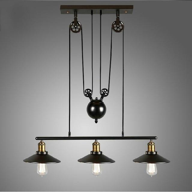 Voorkeur Industriële Katrol Touw Antieke Lamp Zwarte Retro Ijzer Katrol @IK24