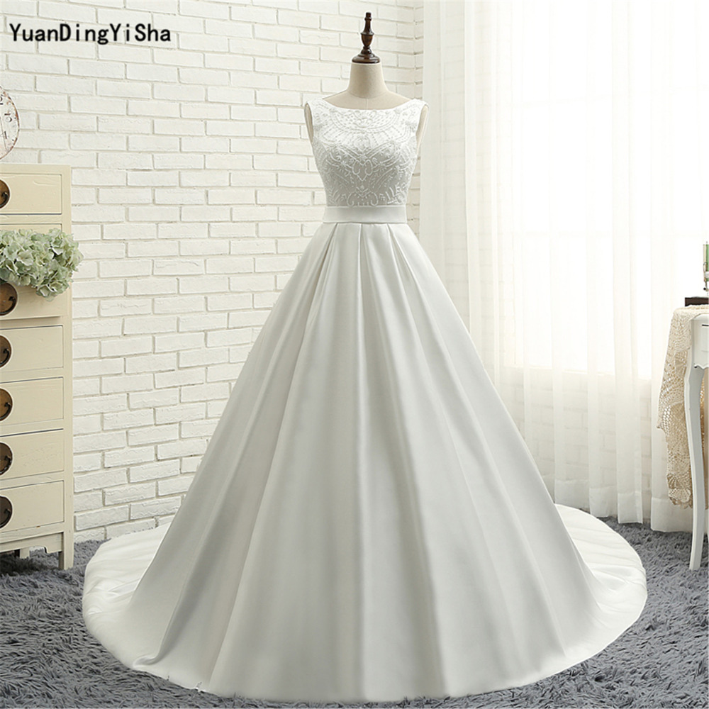 6bfacf1c7 Real Picture Handmade Pearl vestido de noiva de renda Scalloped Neck  Vintage Wedding Ball Gowns Tank Bow Satin Wedding Dresses ~ Premium Deal  July 2019