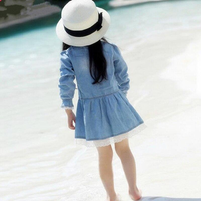 Qız Jean geyimləri, 2016 moda Qızlar üçün Yeni Denim Don, Uzun - Uşaq geyimləri - Fotoqrafiya 2