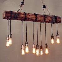 IWHD 10 Heads Wood Vintage Lamp Loft Style Industrial Pendant Light Fixtures Bar Coffe Edison Retro Pendant Lights LED Lampe