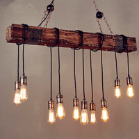 IWHD 10 Heads Wood Vintage Lamp Loft Style Industrial Pendant Light Fixtures Bar Coffe Edison Retro Pendant Lights LED Lampe