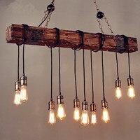 Iwhd 10 головы древесины Винтаж светильник Лофт Стиль промышленные подвесные светильники крючок кофе Эдисон Ретро Открытый Подвесные Светиль