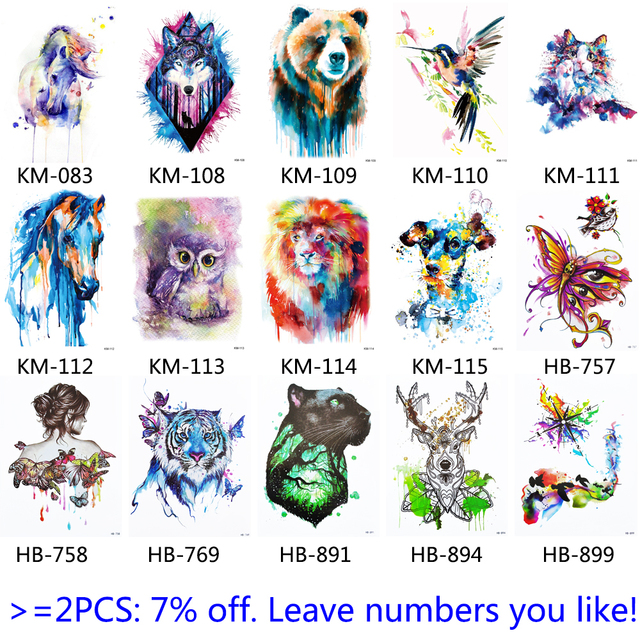 1x BRICOLAGE Body Art Temporaire Tatouage Coloré Animaux Aquarelle Peinture Dessin Cheval Papillon Decal Étanche Tatouages Autocollant