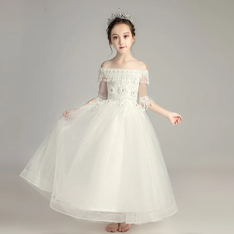 Children Girls Pure White Color Birthday Wedding Party Princess Long Dress Elegant Kids Teens Shoulderless Evening Party Dress 3 15years children girls elegant pink white color birthday evening party princess flowers lace dress teens kids wedding dress