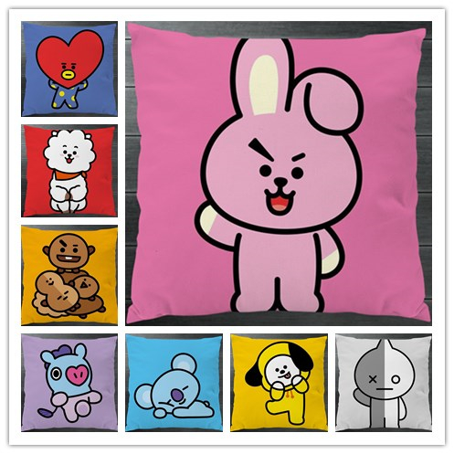 f0f4ca09cea4 Kpop BTS BT21 TATA SHOOKY RJ KOYA CHIMMY COOKY MANG VAN Fanart Cute Pillowcase  Pillow Case Cover Cosplay Gift BED SOFA CAR Decor on Aliexpress.com