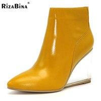 RizaBina obuwie damskie przezroczyste kliny wysokie obcasy botki pointed toe wysokie obcasy buty zimowe czarne buty kobieta size33-41