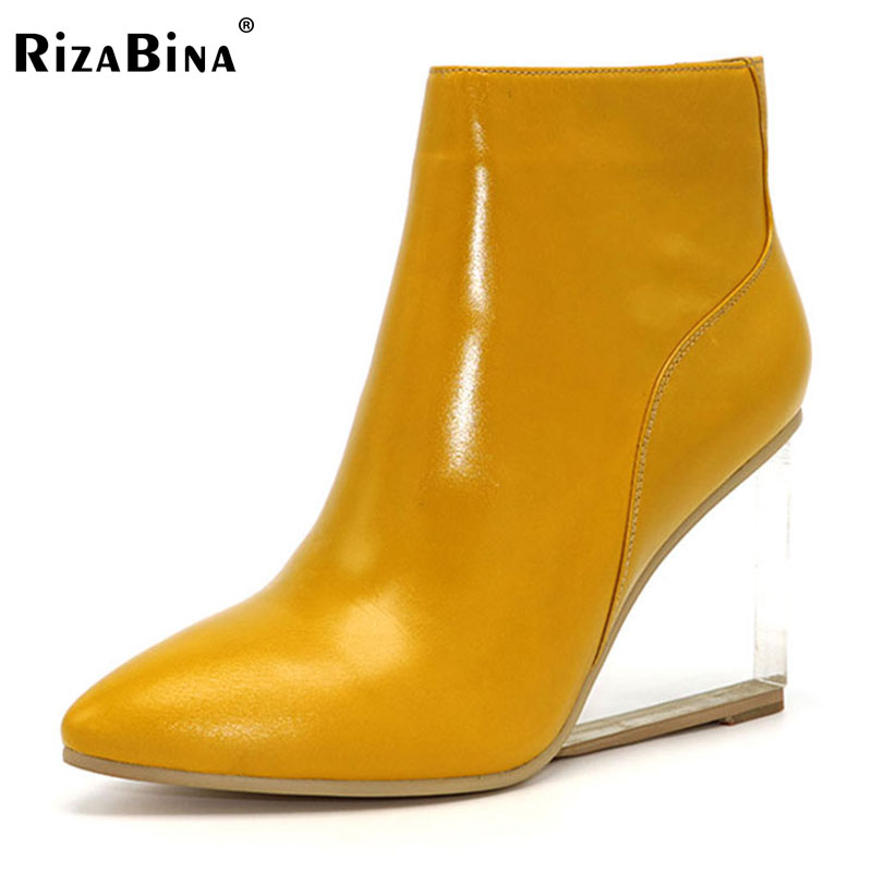 Rizabina женская обувь прозрачные Ботильоны на высокой танкетке Туфли на высоком каблуке с острым носком зимние черные сапоги женская обувь ...
