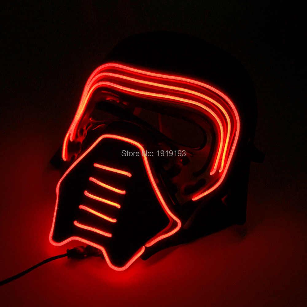 เรืองแสง LED Neon ฟิล์ม Theme หน้ากากฮอกกี้เทศกาลหน้ากาก EL ลวด Cool นักรบหมวกนิรภัย Bar PARTY หน้ากาก DC3V