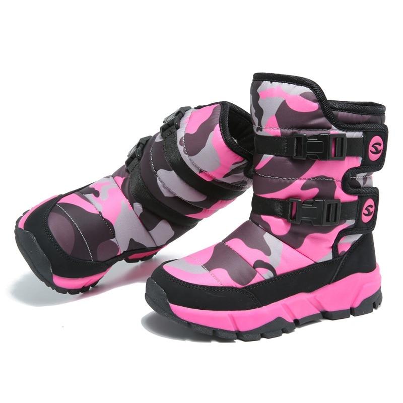Botas cómodas para niños de media pantorrilla de felpa de fondo suave botas para niñas de algodón AA51121 - 5