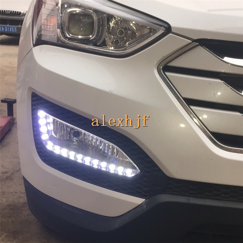 July King LED Daytime Running Lights DRL, Fog Lamp Assembly Case for Hyundai 2013 All new Santa Fe (EU) / 2012 IX45 ,1:1 led daytime running lights for hyundai grand santa fe ix45 2013 2018 drl fog lamps